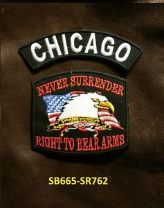 CHICAGO and NEVER SURRENDER Small Badge Patches Set for Biker Vest Jacket