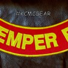 SEMPER FI Yellow on Red Back Patch Bottom Rocker for Biker Veteran Vest 10""