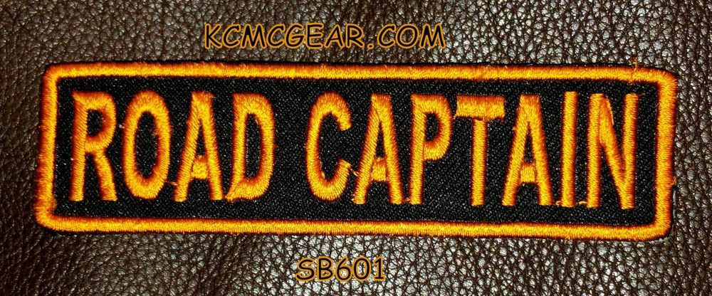 ROAD CAPTAIN Orange on Black Small Badge for Biker Vest jacket Motorcycle Patch