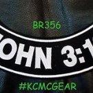 """JOHN 3:16 White on Back Patch Bottom Rocker for Biker Veteran Vest Jacket 10"""""""
