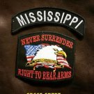 MISSISSIPPI and NEVER SURRENDER Small Badge Patches Set for Biker Vest Jacket