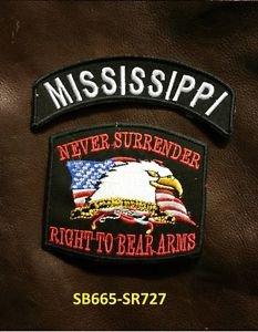 MISSISSIPPI and NEVER SURRENDER Small Badge Patches Set for Biker Vest Jacket