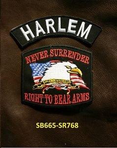 HARLEM and NEVER SURRENDER Small Badge Patches Set for Biker Vest Jacket