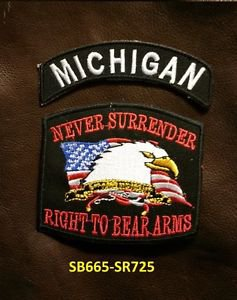 MICHIGAN and NEVER SURRENDER Small Badge Patches Set for Biker Vest Jacket