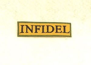 Infidel Black on tan with green border Small Badge Biker Vest Motorcycle Patch