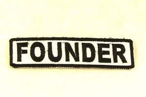 FOUNDER Black on White Small Badge for Biker Vest Motorcycle Patch
