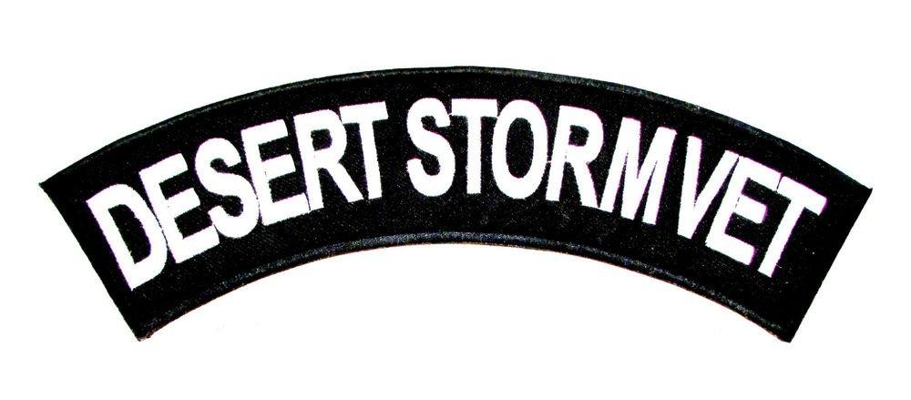 Desert Storm vet Patch Top Rocker Back Patch for Vest Jacket TR358 no border