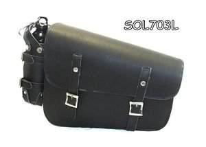 LEATHER MOTORCYCLE CHOPPER HARLEY SOFTAIL BOBBER SOLO BAG LEFT SIDE NEW