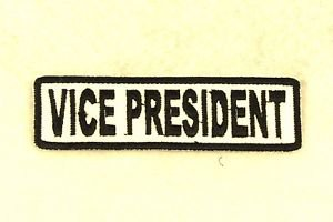 VICE PRESIDENT Black on White Small Badge for Biker Vest Motorcycle Patch