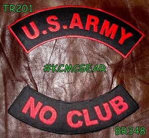 US ARMY NO CLUB Red on Black Military Patches Set for Biker Vest Jacket