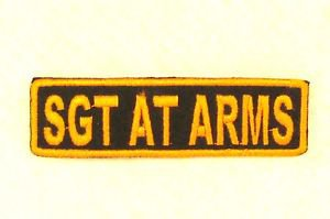 SGT AT ARMS Orange on Black Small Badge for Biker Vest Motorcycle Patch