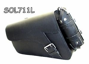 Motorcycle Leather single strap swingarm bag 2 Pin buckle three adjustable strap