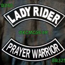 Lady Rider Prayer Warrior Embroidered Patches Motorcycle Biker Patch Set for Jac