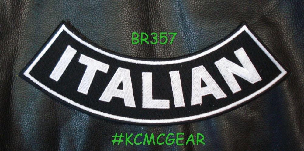 """ITALIAN White on Back Patch Bottom Rocker for Biker Veteran Vest Jacket 10"""""""