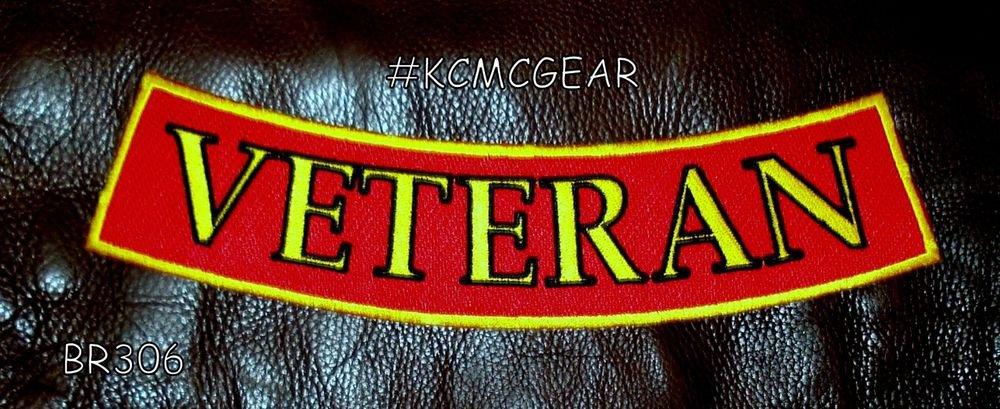 "VETERAN Yellow and Black on Red Patch Bottom Rocker for Biker Veteran Vest 10"""