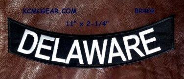 """DELAWARE White on Black Back Patch Bottom Rocker for Biker Veteran Vest 10"""""""
