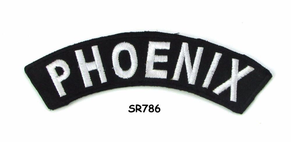 Phoenix White on Black Small Rocker Iron on Patches for Biker Vest Jacket