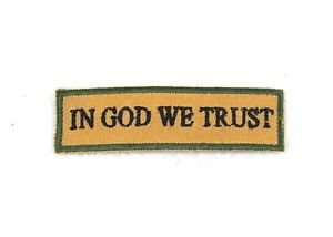 In God we trust Black on tan with green Small Badge Biker Vest Motorcycle Patch