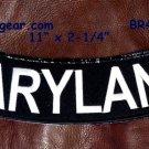 """MARYLAND White on Black Back Patch Bottom Rocker for Biker Veteran Vest 10"""""""