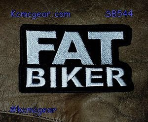 Fat Biker  White on Black Small Badge for Biker Vest Jacket Motorcycle Patch