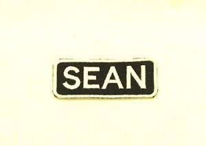 Sean White on Black Iron on Name TAG Patch for Biker Vest Jacket NB256