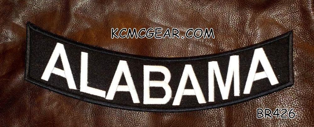 "ALABAMA Black on White Back Patch Bottom Rocker for Biker Veteran Vest 10"""