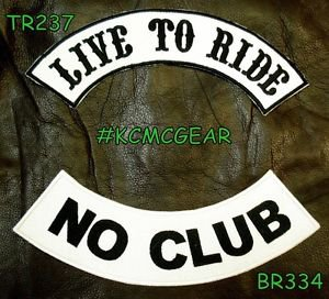 LIVE TO RIDE NO CLUB Black on White Back Military Patches Set Biker Vest