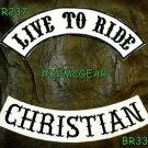 LIVE TO RIDE CHRISTIAN Black on White Back Military Patches Set Biker Vest