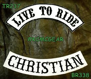 LIVE TO RIDE CHRISTIAN Black on White Back Military Patches Set Biker Vest