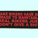 FAKE BIKERS Red on Black Small Badge for Biker Vest Motorcycle Patch