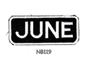 JUNE Name Tag Patch Iron or sew on for Shirt Jacket Vest New BIKER Patches