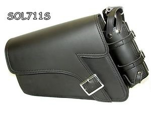 Motorcycle Leather single strap swing arm bag 1 Pin buckle three adjustable stra
