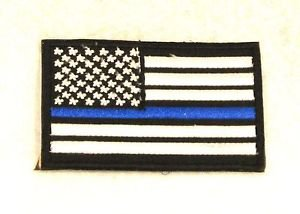 US flag White on black with blue Small Badge Biker Vest Jacket Motorcycle Patch