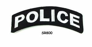 Police White on Black Small Rocker Iron on Patches for Biker Vest Jacket