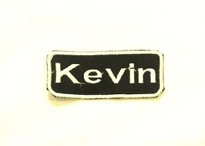 Kevin White on Black Iron on Name TAG Patch for Biker Vest Jacket NB175