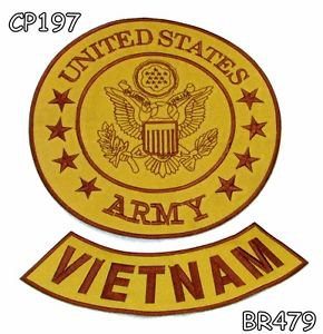 US ARMY AND VIETNAM Brown on Gold Iron on 2 Patches Set for Biker Jacket