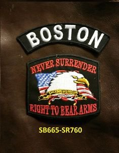 BOSTON and NEVER SURRENDER Small Badge Patches Set for Biker Vest Jacket