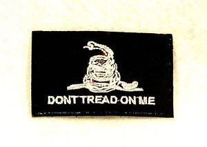 Don�t tread on me White on black Small Badge for Biker Vest Motorcycle Patch
