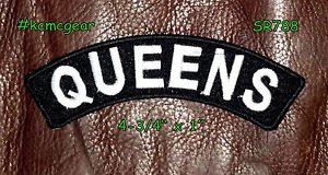 Embroidered Top Rocker Small Biker Patches Queens for sleeve