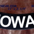 "IOWA White on Black Back Patch Bottom Rocker for Biker Veteran Vest Jacket 10"""