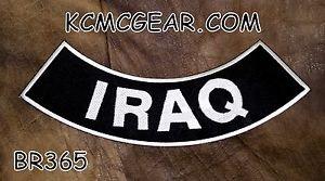 "IRAQ White on Black  Back Patch Bottom Rocker for Biker Veteran Vest Jacket 10"""