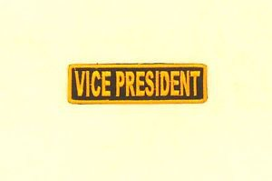 VICE PRESIDENT Orange on Black Small Badge for Biker Vest Motorcycle Patch