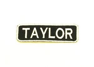 Taylor White on Black Iron on Name TAG Patch for Biker Vest Jacket NB257
