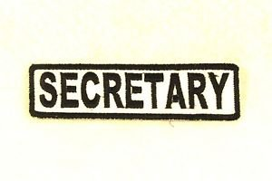 SECRETARY Black on White Small Badge for Biker Vest Motorcycle Patch