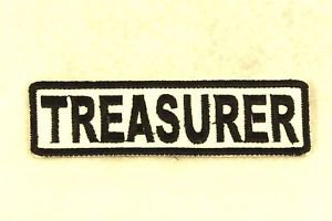TREASURER Black on White Small Badge for Biker Vest Motorcycle Patch