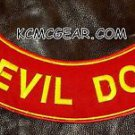DEVIL DOG Yellow on Red Patch Bottom Rocker for Biker Veteran Vest Jacket 10""