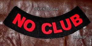 "NO CLUB Red on Black Back Patch Bottom Rocker for Biker Veteran Vest 10"""
