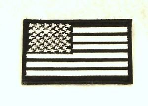 US flag White on black Small Badge Biker Vest Jacket Motorcycle Patch