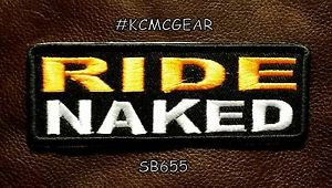 RIDE NAKED Small Badge for Biker Vest Jacket Motorcycle Patch