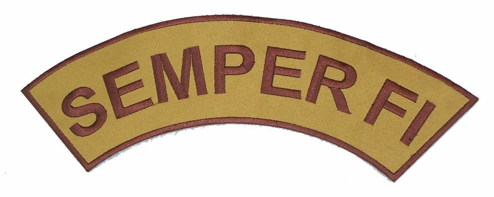 SEMPER FI Brown on Gold Top Rocker Patch Iron on for Biker Vest and Jacket